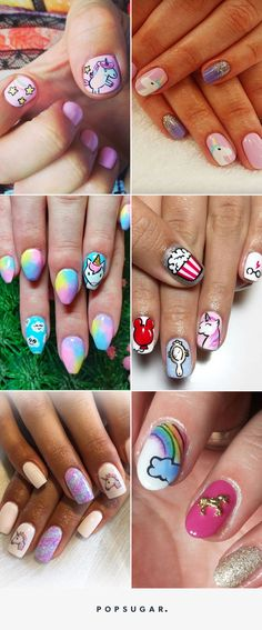 Fake Nails For Kids Unicorn 50 Ideas Crazy Nail Art, Crazy Nails, Fancy Nails, Cool Nail Art, Pretty Nails, Diy Unicorn, Unicorn Nail Art, Hair And Nails, My Nails
