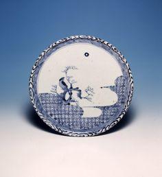 Plate. Bird on bough. Made of blue underglaze ceramic, porcelain.