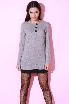 1015store.com-Long Sleeve Gray Ruffled Dress-$15.00