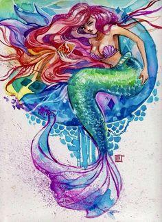 Mermaid Artwork, Mermaid Drawings, Mermaid Tattoos, Fantasy Mermaids, Real Mermaids, Mermaids And Mermen, Arte Disney, Disney Fan Art, Whatsapp Pink