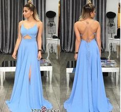 BeautyRobes A-Line Spaghetti Straps Lace-up Blue Chiffon Long Prom Dress with Split, 6667066 Affordable Prom Dresses, Unique Prom Dresses, Backless Prom Dresses, Prom Dresses For Sale, Homecoming Dresses, Formal Dresses, Pretty Outfits, Pretty Dresses, Burgundy Gown