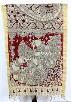 Shop online for the best quality ethnic designer dupattas available exclusively at Desically Ethnic. Saree Painting, Kalamkari Painting, Mural Painting, Fabric Painting, Motif Design, Mandala Design, Design Art, Ancient Indian Art, Indian Folk Art