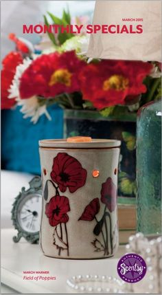 Scentsy March 2015 Field of Poppies Warmer Clover Scent  SCENTSY MARCH 2015 WARMER  Field of Poppies Find peace in a sunny meadow — then watch as springtime paints it red with wildflowers. Field of Poppies is bright and hopeful, awash with showy hand-painted blossoms that pop against a