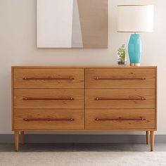 Benson 6-Drawer Dresser - Natural Oak #westelm LOVE LOVE LOVE THE LEATHER HANDLES !!