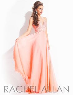 0747b09335 Rachel Allan Prom 6978 Chiffon dress with beaded detail and illusion back