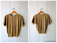 Metallic Gold Knit Top Woven Pendleton Sweater Short Sleeve Knit Shirt Minimal Thin Sweater Holiday Sparkle Womens Medium Sweater And Shorts, Knit Shirt, Vintage Sweaters, Metallic Gold, Minimal, Sparkle, Knitting, Tricot, Breien