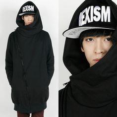 Rememberclick/Turtleneck Hooded Long Sweater Unisex Black Gray Free Korean ici #RememberClick #HoodJacket