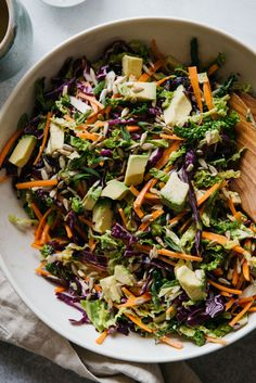 Cabbage and Carrot Slaw with Almond Butter Vinaigrette #vegan #glutenfree #healthy #sponsored