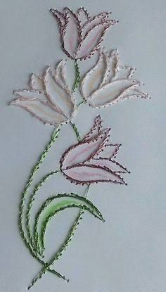 Latest Trend in Paper Embroidery - Craft & Patterns Embroidery Cards, Embroidery Flowers Pattern, Hand Embroidery Stitches, Crewel Embroidery, Hand Embroidery Designs, Ribbon Embroidery, Embroidery Thread, Cross Stitch Embroidery, Machine Embroidery