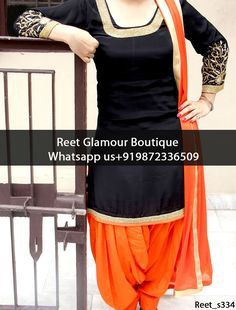 Attractive Black And Orange Embroidered Punjabi Suit Product Code : Reet_s334 To Order, Call/Whats app On +919872336509 We Offer Huge Variety Of Punjabi Suits, Anarkali Suits, Lehenga Choli, Bridal Suits,Sari, Gowns Etc .We Can Also Design Any Suit Of Your Own Design And Any Color Combination.