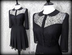 Black Lace Peter Pan Collar Sweetheart Dress 8 Vintage Gothic Dolly Lolita   THE WILTED ROSE GARDEN