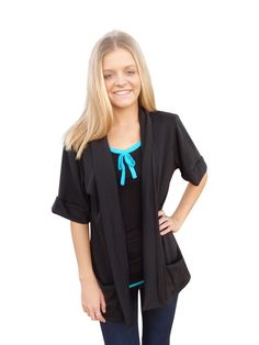 Park Avenue Black Shawl Collar Sweater Cardigan with Short Sleeves