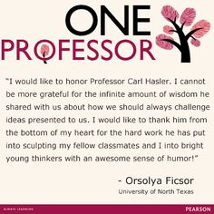 Orsolya honors One Professor Dr. Carl Hasler, Collin County Community College