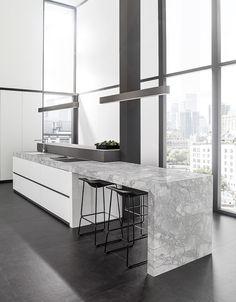 99 Best Porcelain Slab Countertops Design Ideas For Your Kitchen - Kitchen Dinning Room, Kitchen Layout, Kitchen Decor, Kitchen Ideas, Dining, Small Outdoor Kitchens, Wall And Floor Tiles, Cuisines Design, Interior Design Kitchen
