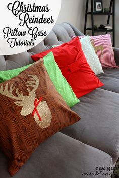 Christmas Deer Pillow Case Cover Tutorials at Rae Gun Ramblings #sewing #cricut #vinyl