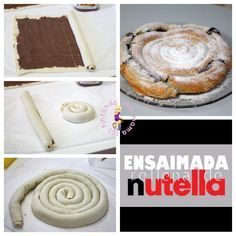 ensaimada-de-hojaldre-con-nutella Savory Pastry, Puff Pastry Recipes, Croissants, Donuts, Muffins, Cupcakes, Sweet Pastries, Happy Foods, Cookies
