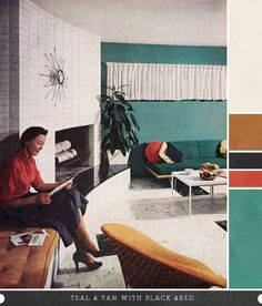 1950s living room look at that fireplace am in love!