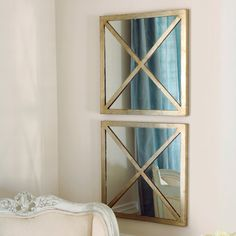 Worlds Away X Square Gold Leaf Mirror