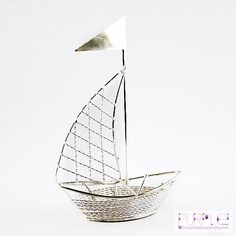 10xSET Nautical Wedding Favors Metal Wire Sailboat with Bride Groom Wedding Wedding Decorated Nautical theme Sailboat wedding