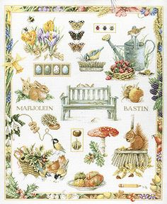A large and colourful sampler with animals, birds, insects, fruit and flowers.