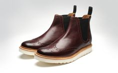 GRENSON - The wing tip chelsea boot is rare enough, but give it a white wedge rubber sole and it becomes a totally unique boot.