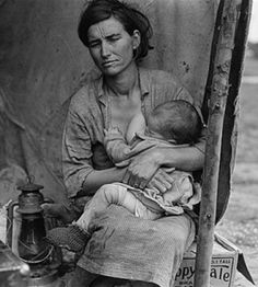"""Florence Owens Thompson (1903-1983).  She was the subject of Dorothea Lange's photo """"Migrant Mother"""" (1936)."""