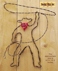 Lasso Cowboy - Handmade metal decor barbed wire art country western wall sculpture