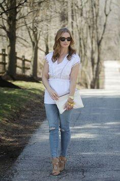 Simply Lulu Style: White Pom Pom Top, Distressed Skinnies