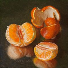 Peeled Mandarin Orange oil painting by Youqing (Eugene) Wang. Orange Painting, Fruit Painting, Hyperrealism Paintings, Fruits Drawing, Still Life Fruit, Orange Art, Expressive Art, Painting Still Life, Fruit Art