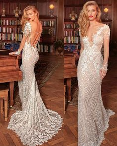 Vestido de noiva Galia Lahav Gatsby Wedding Dress, Long Sleeve Wedding Dress Boho, Wedding Gowns With Sleeves, Stunning Wedding Dresses, Dream Wedding Dresses, 1920s Wedding, Bridal Dresses, Wedding Ideas, Old Hollywood Wedding