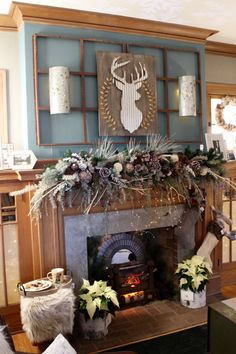 Hirshfield's paint color Bowman Blue 0500 above the fireplace. Bachman's Holiday Ideas House 2016