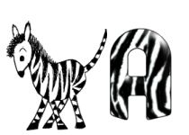 Alfabeto con rayas de zebra.