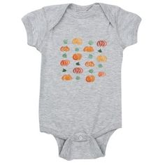Baby Bodysuit With Pumpkins And Leaves
