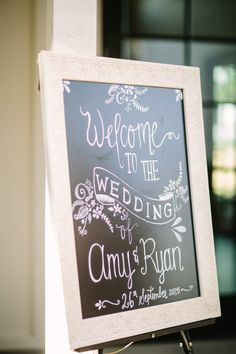 Wooden framed chalkboard welcome wedding sign: Photography: Retrospect Images - retrospectimages.com   Read More on SMP: http://www.stylemepretty.com/california-weddings/2016/06/23//