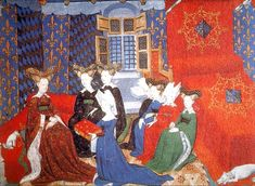 Christine de Pisan presenting her book to Isabeau of Bavaria, wife of Charles VI of France.  The bed furnishings are superbly embroidered.  Here the bedchamber used as the Queen's private space with her ladies - and dog.