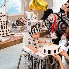 Monochrome birthday party celebration. Black, white and gold birthday, first birthday