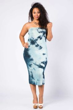 Teal Tie-Dye Bodycon Dress