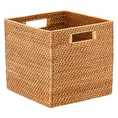 Small Rattan Woven Storage Bin with Handles | Pinterest | Rattan Crates and Organizations  sc 1 st  Pinterest & Small Rattan Woven Storage Bin with Handles | Pinterest | Rattan ...