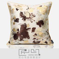 匠心宅品 现代中式样板房软装抱枕浅黄棕抽象花滚边方枕(不含芯