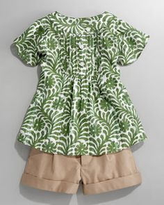 -3LDR Milly Minis Flutter Batik Flower-Print Blouse & Bow-Pocket Shorts