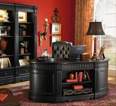 Black, stately desk