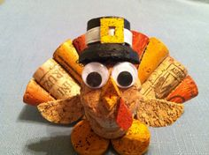 Thanksgiving turkey made from recycled corks.