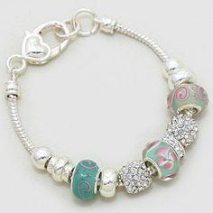 """Women's Multi-beaded Resin Swirl Bracelet. Silver/ Mint/ Bluish Green/ Pink/ Clear • Size: 1/2"""" H, 7"""" + 1/2"""" L. Clear Resin / Flower / Swirl / Heart Beads. WT001 http://www.amazon.com/dp/B00L2N318W/ref=cm_sw_r_pi_dp_KMpqwb160WFDG"""