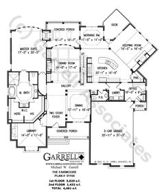 Fairmoore House Plan # 01164, 1st Floor Plan, Craftsman Style House Plans, French Country Style House Plans