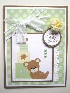 teddy bear shower card