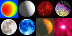 These are all photos of the Moon but photographed in a variety of different wavelengths of light. The images are arranged from longest to shortest wavelength. Top row from left: Moon in radio waves, submillimeter light, mid-infrared, near-infrared. Bottom row: Visual, ultraviolet, X-rays and gamma rays. Credits (top): NRAO-VLA/U. of British Columbia, Mike Kozubel/MSX Project/NASA-Galileo. Bottom: Bob King/Southwest Research Institute/NASA-ROSAT/Dave Thompson-NASA-GFSC