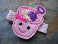 Felties - Beach Bucket Feltie Hair Clip - Sand Bucket Stitchie Hairclip - Clippie - Barrette - Pink and Purple (Set of 1)