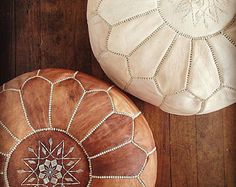 SET of 2 POUF ,leather ,handmade moroccan pouf, ottoman cover, footstool,hassock,pouffe,pouffes