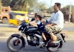 Tittle Baby Girl Driving Pulsar Bike Funny Amazing