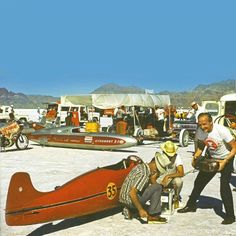 """Speed week 1965 - Burt Munroe's Indian Streamliner made even more famous in the movie """"World's Fastest Indian"""""""